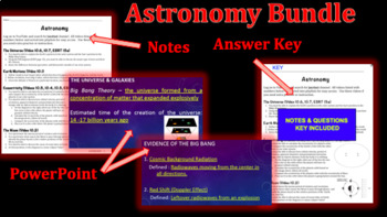 Astronomy Unit Notes Packet, Keys & PowerPoint