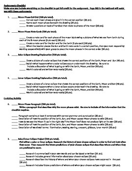 Astronomy Unit Page 8 Activities: Moon Phases, Solar & Lunar Eclipses