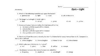 Astronomy Unit Quiz - Light