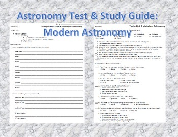 Astronomy Unit Test - Modern Astronomy