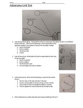 Astronomy Unit Test (Sun, Moon, planets, Gravity)
