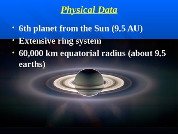 """Astronomy Unit V Lesson II PowerPoint """"Saturn"""""""