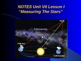 """Astronomy Unit VII Lesson I PowerPoint """"Measuring the Stars"""""""