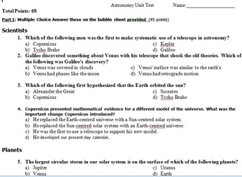 Astronomy Unit test Science 9