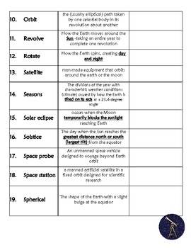 Astronomy Vocabulary Chart with definitions room for examples & review Crossword
