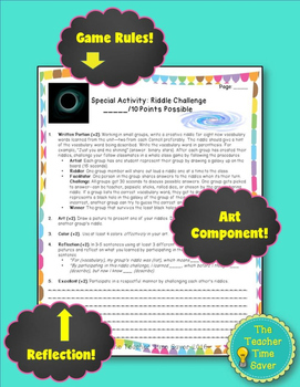 Astronomy Vocabulary Riddle Challenge Game