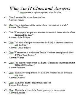 "Astronomy ""Who Am I"" Review Game with Clues"