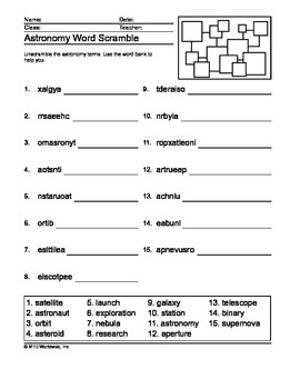 Astronomy Word Search, Secret Code and Word Scramble Printables