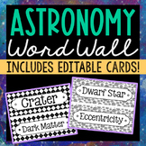 72 Astronomy Science Vocabulary Word Wall Terms with EDITA