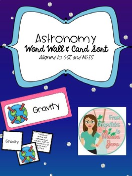 Astronomy Word Wall and Card Sort