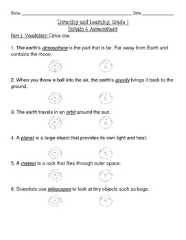Astronomy Word Work and Assessment