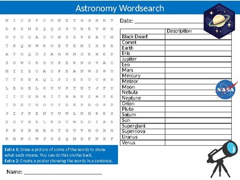 Astronomy Wordsearch Sheet Science Physics Starter Activity Keywords