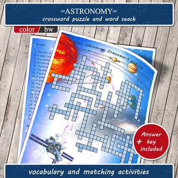 Astronomy games (solar system crossword puzzle, word search and other activities