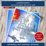 Astronomy games Solar System crossword, word search Space