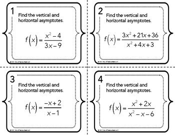 Asymptotes in Rational Functions Task Cards