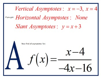 Asymptotes of Rational Functions Scavenger Hunt