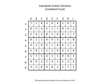 Asymptotes of Rational Functions - Sudoku Puzzle