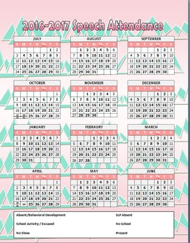 At A Glance 2016-2017 Yearly Calendar for Speech Attendance