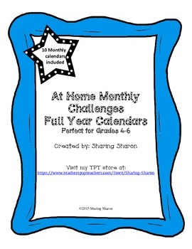 At Home Challenge - Monthly Calendars