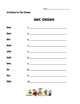 At Home In The Ocean - Journeys 1st Grade- ABC Order