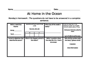 At Home In the Ocean Homework Journeys Common Core