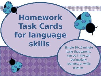 At Home Language Task Cards