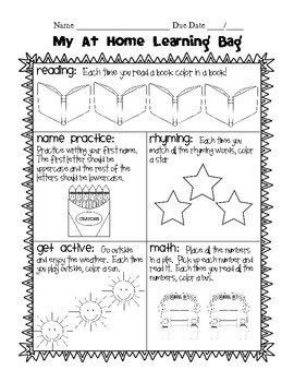 At Home Learning: Kindergarten Homework Bags {Set 1: September-November}
