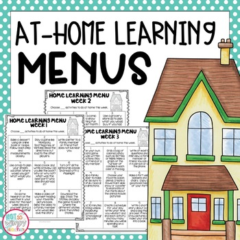 At-Home Distance Learning Learning Menus