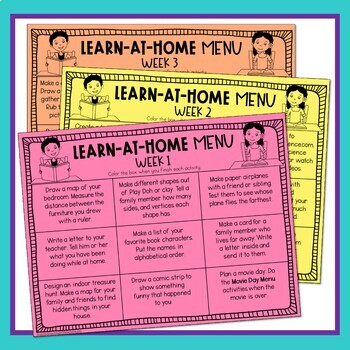 Distance Learning At-Home Learning Menus & Parent Letter for Grades 2-3