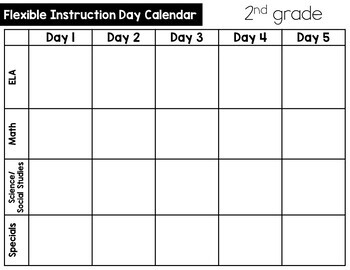 At Home Learning Schedule, Plans and Choice Boards for 2nd Grade: Editable