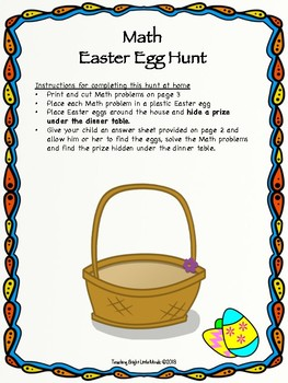 At Home Math Easter egg Hunt