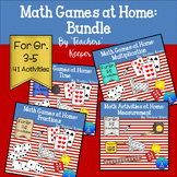 At Home Math Games Bundle: Multiplication, Fractions, Time