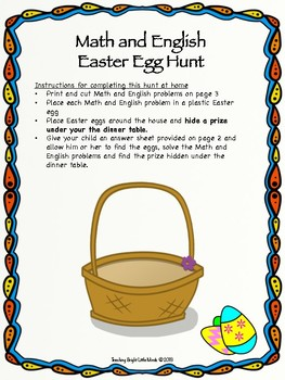 At Home Math and English Easter Egg Hunt
