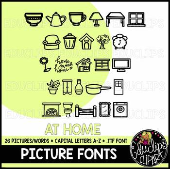 At Home- Picture Font {Educlips Clipart}