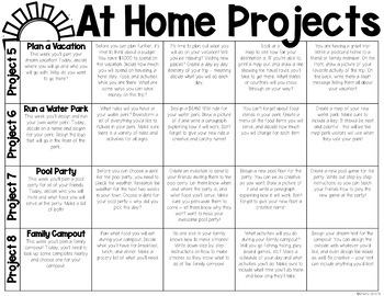 At Home Learning Project Calendar | Distance Learning Project Choice Board