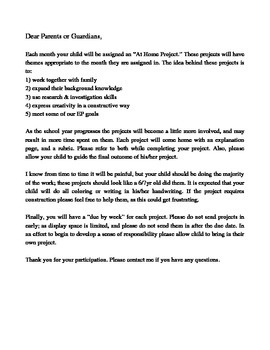 At Home Project (Parent Letter)