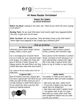 At Home Reader Enrichment - Anansi the Spider