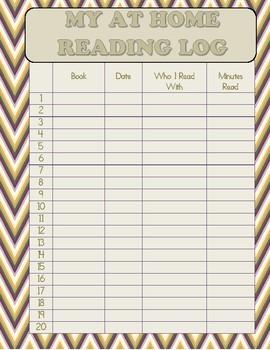 At Home Reading Log