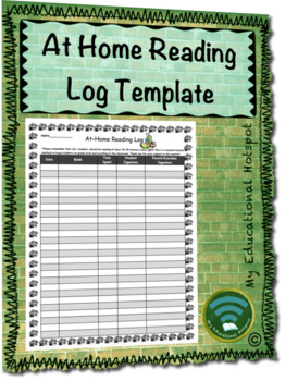 At Home Reading Log Template