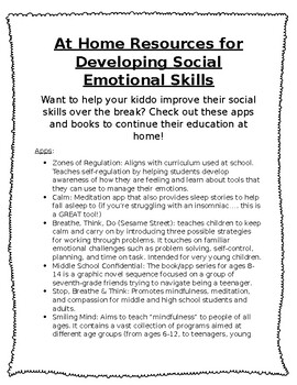 At Home Resources for Developing SEL *Handout*