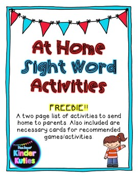 At Home Sight Word Activities FREEBIE