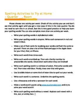 At-Home Spelling Activities FREEBIE