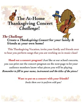 At Home Thanksgiving Concert Challenge Editable
