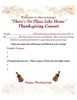 At-Home Thanksgiving Concert Challenge - editable!