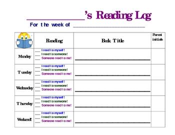 At Home Weekly Reading Log