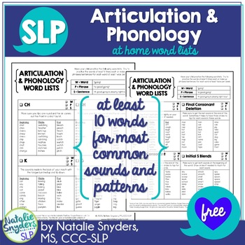 At Home Word Lists for Articulation and Phonology for SLPs - Freebie