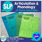 At Home Word Lists for Articulation and Phonology for SLPs
