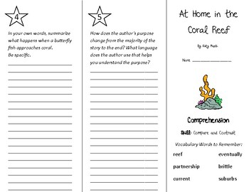 At Home in the Coral Reef Trifold - Treasures 4th Grade Unit 5 Week 4 (2011)