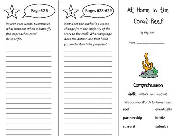 At Home in the Coral Reef Trifold - Treasures 4th Grade Un
