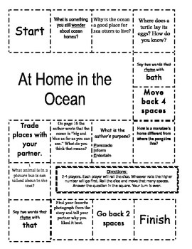 """""""At Home in the Ocean """" Comprehension Game Board- Journeys story 1st grade"""